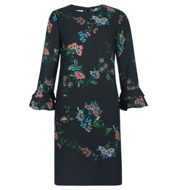Hobbs Frieda Floral Sleeve Dress Green Multi