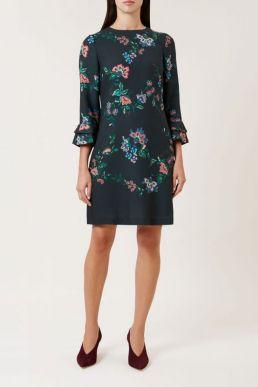 Hobbs Frieda Floral Sleeve Dress Green Multi