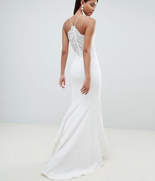 Jarlo Cami Strap Fishtail Maxi Dress Lace Button Back Detail White