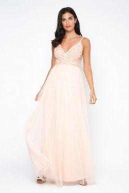 Lace & Beads Irina Embellished Maxi Dress Pale Pink Nude