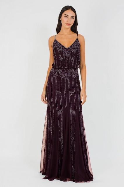 Lace beads keeva bordeaux maxi dress purple for Wedding dress travel case