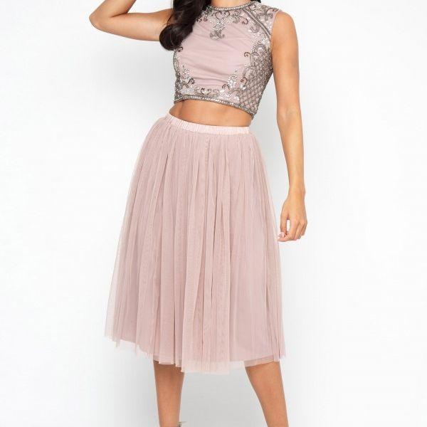 Lace & Beads Noorie Mink Blush Crop Top