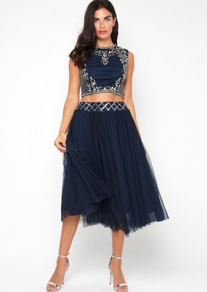 4be02609a5fa03 Lace & Beads Noorie Navy Crop Top | myonewedding.co.uk