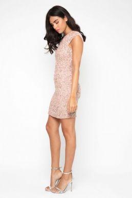 Lace & Beads Teardrop Sequin Dress Blush Mink