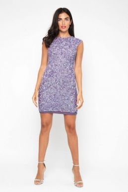 Lace & Beads Teardrop Sequin Dress Lavender Purple
