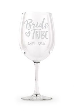 Large Personalised Wine Glass Bride Tribe