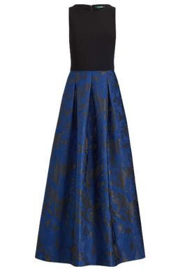 Lauren Ralph Lauren Leydena Maxi Dress Dutch Blue Black