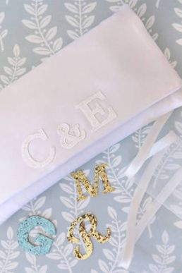 Emma Gordon Bride And Groom Monogram Bridal Clutch Ivory