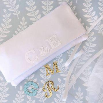 Emma Gordon Bride And Groom Monogram Bridal Clutch Ivory