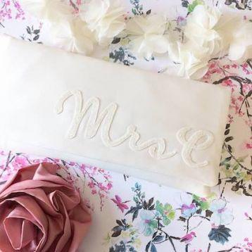 Emma Gordon Mrs Initial Bridal Wedding Day Clutch Ivory