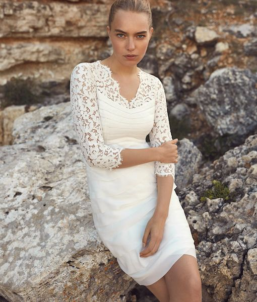 eb63577d2f5 Phase Eight Madalyn Short Lace Wedding Dress Ivory