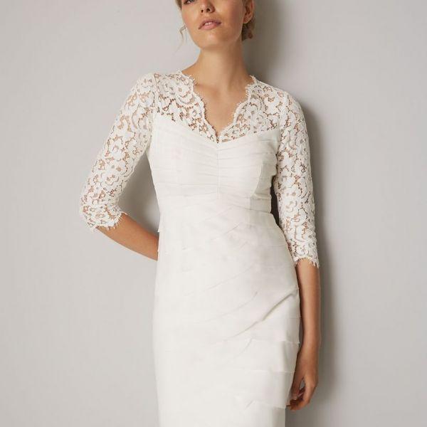 Phase Eight Madalyn Short Lace Wedding Dress Ivory