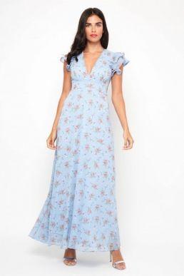 TFNC Elana Floral Maxi Dress Blue Multi