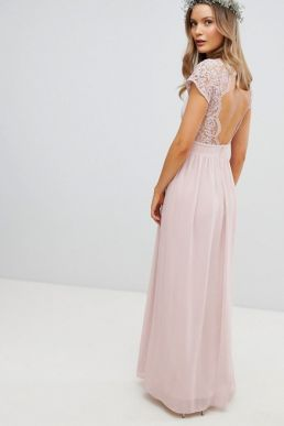 TFNC Maxi Bridesmaid Dress Scalloped Lace Open Back Pink