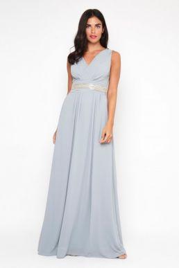 TFNC Nashira Maxi Bridesmaid Dress Blue Grey