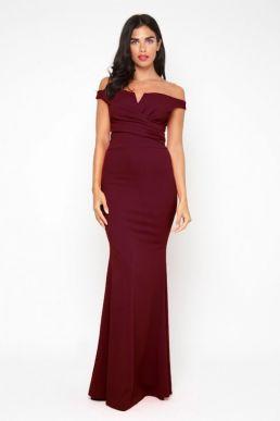 WalG Off Shoulder Maxi Bridesmaid Dress Burgundy Red