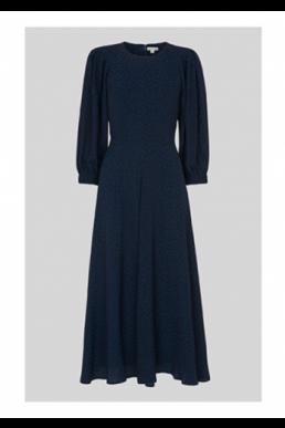 Whistles Fay Animal Jacquard Midi Dress Navy