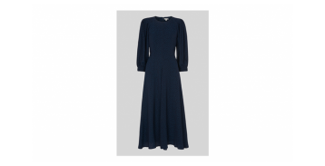 Whistles Fay Animal Jacquard Midi Dress Navy