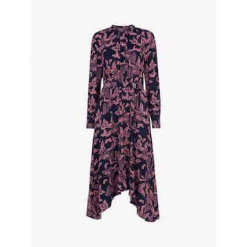 Whistles Papillion Print Shirt Dress Pink Multi