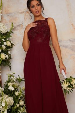 Chi Chi Tiffy Lace Bridesmaid Maxi Dress, Burgundy