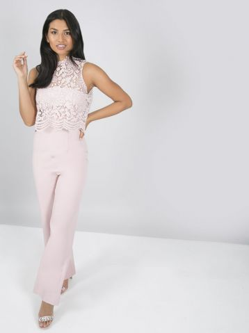 Chi Chi Anastasia Lace Jumpsuit Blush Pink