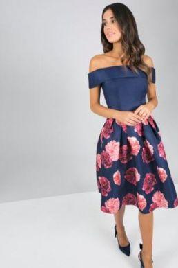 Chi Chi Dilina Bardot Floral Dress Navy Multi