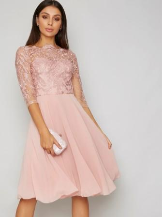 Chi Chi Genesis Lace Bridesmaid Short Dress Pink Blush