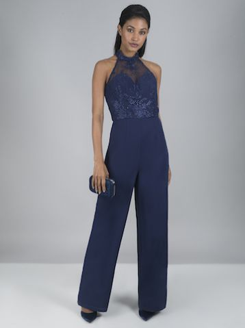 Chi Chi Jennifer Lace Halter Jumpsuit Navy Blue