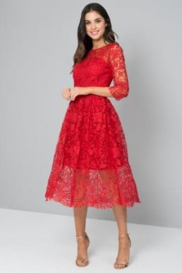 Chi Chi Pinar Lace Dress Red