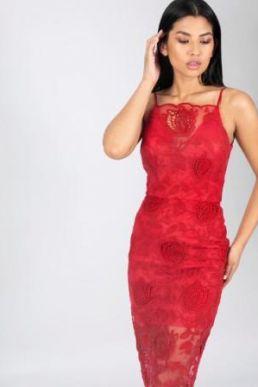 Chi Chi Sherise Lace Shift Dress Red