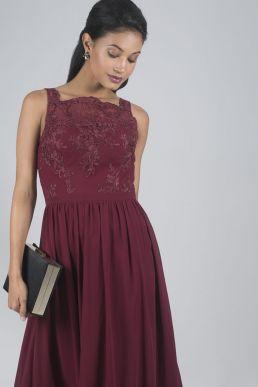 Chi Chi Tiffy Lace Bridesmaid Maxi Dress Burgundy