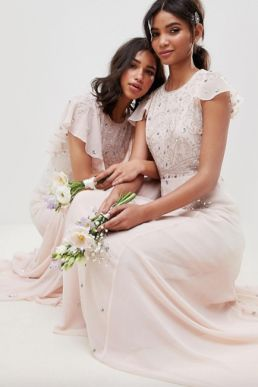 ASOS DESIGN bridesmaid embellished flutter sleeve maxi dress Blush Pink