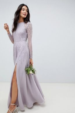 ASOS DESIGN Bridesmaid maxi dress linear sequin long sleeves Grey Lilac