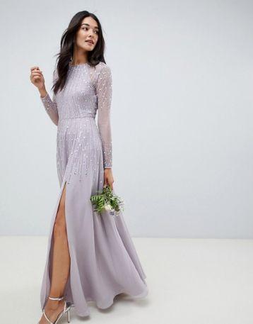 Asos Design Bridesmaid Maxi Dress Linear Sequin Long Sleeves Grey