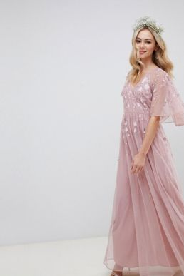 ASOS DESIGN Bridesmaid Maxi dress cape sleeve embroidered mesh Pink Blush