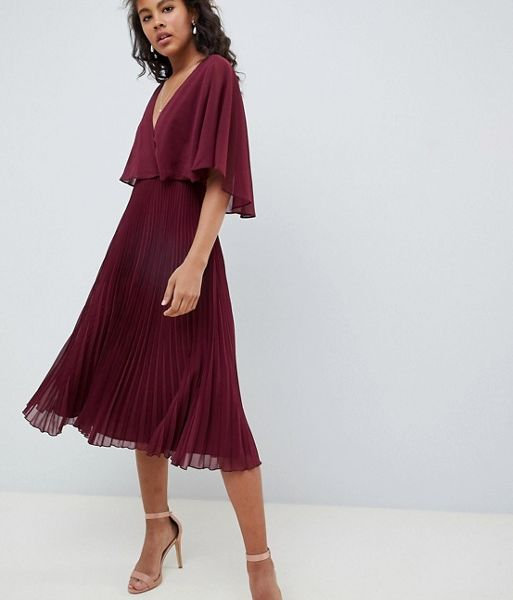 2d876c11c02 ASOS DESIGN midi dress with pleat skirt and flutter sleeve Merlot. ASOS  DESIGN midi dress with pleat skirt and flutter sleeve Merlot