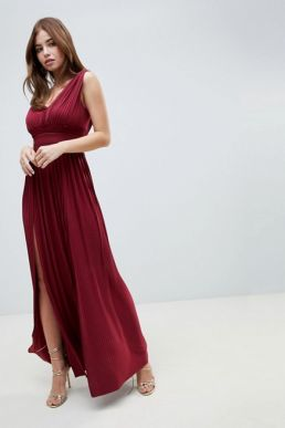 ASOS DESIGN PREMIUM FULLER BUST Lace Insert Pleated Maxi Dress Merlot Red