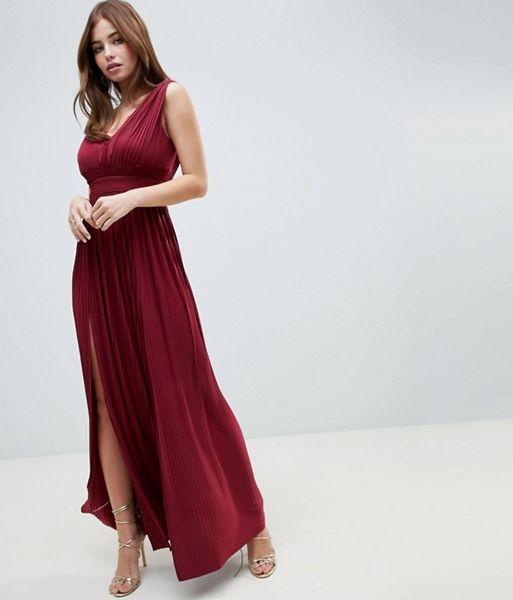 4f7896ea72 ASOS DESIGN PREMIUM FULLER BUST Lace Insert Pleated Maxi Dress Merlot Red. ASOS  DESIGN PREMIUM FULLER BUST Lace Insert Pleated Maxi Dress Merlot Red