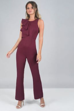 Chi Chi Chloie Frill Jumpsuit Merlot Burgundy