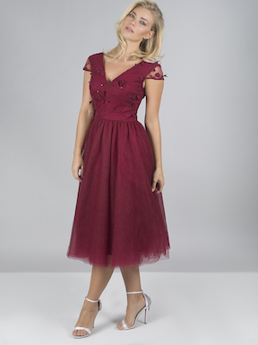 Chi Chi Drora Applique Embroidered Dress Berry Red
