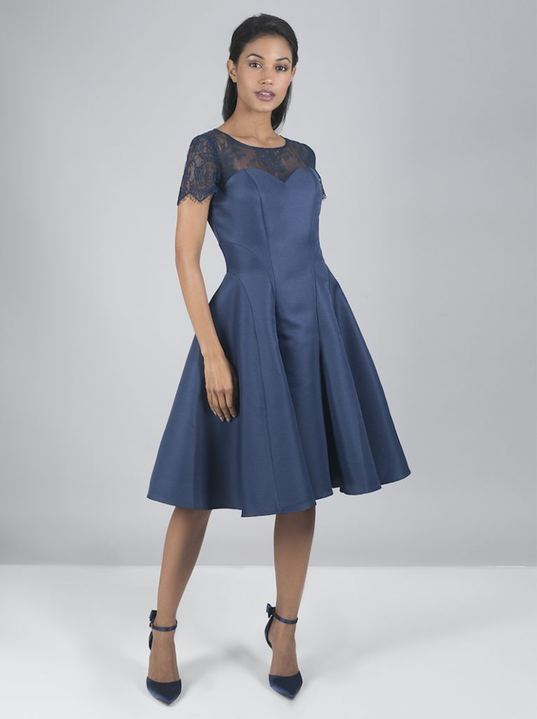 Chi chi lilo lace short bridesmaid dress blue for Wedding dress travel case