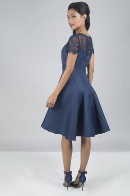 Chi Chi Lilo Lace Short Bridesmaid Dress Blue