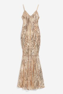 Club L London Sequin Fishtail Maxi Dress Gold