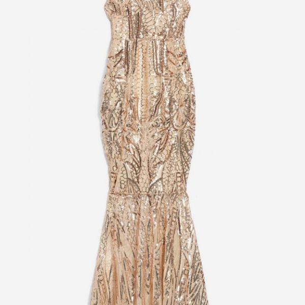 246378f0eaf2 Club L London Sequin Fishtail Maxi Dress Gold. Club L London Sequin  Fishtail Maxi Dress Gold