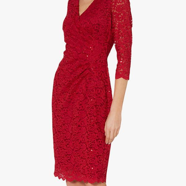 6e0e276ff2fcfd Gina Bacconi Aruna Floral Lace Dress, Red | myonewedding.co.uk