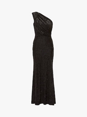 Gina Bacconi Novella Metallic One Shoulder Dress Black Metallic