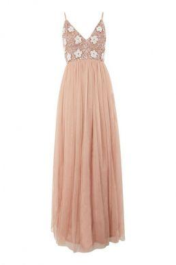 Lace & Beads Avon Floral Maxi Dress Blush Pink