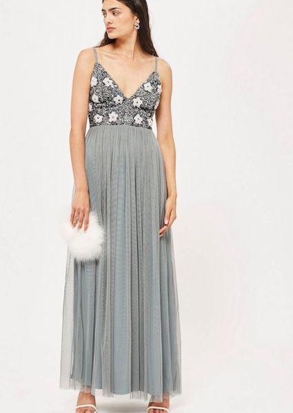 05d974f5567e Lace   Beads Avon Floral Maxi Dress Silver Grey. Lace   Beads Avon Floral  Maxi Dress Silver Grey