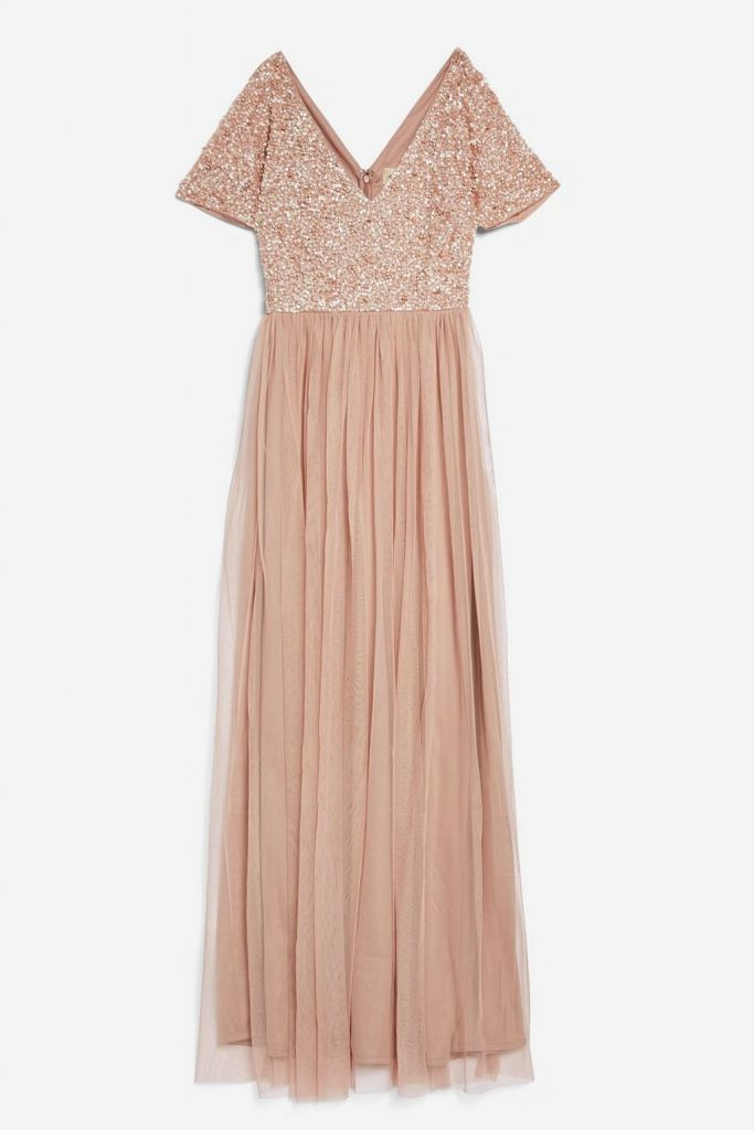 Lace beads chandelier fit and flare maxi dress pink for Wedding dress travel case