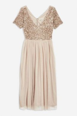 Lace & Beads Chandelier Sequin Midi Dress Gold